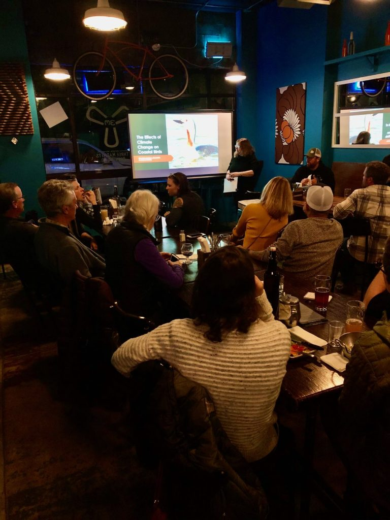 Kim Adelson with the Black Hills Audubon Society speaking to Oly Surfrider at Three Magnets about how climate change is affecting our shorebirds, why it matters, and what we can all do to preserve our birds!